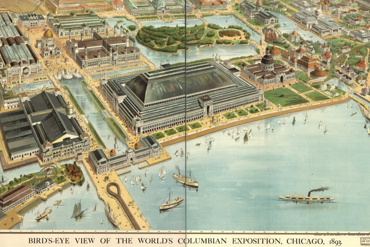 The 1893 World's Columbian Exposition in Chicago included, among other attractions, the original Ferris wheel and the first moving walkway.