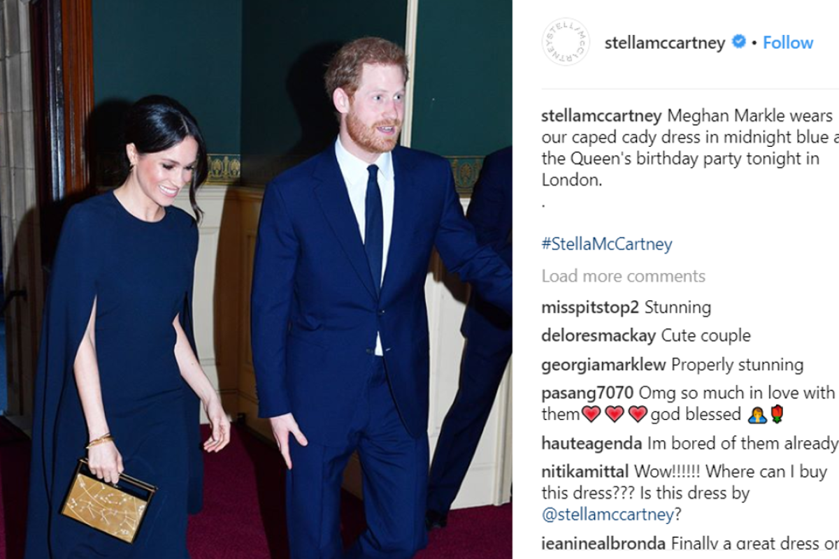 Meghan Markle wears a cape dress from Stella McCartney to Queen Elizabeth's 92nd birthday celebrations. Picture: Instagram/@stellamccartney