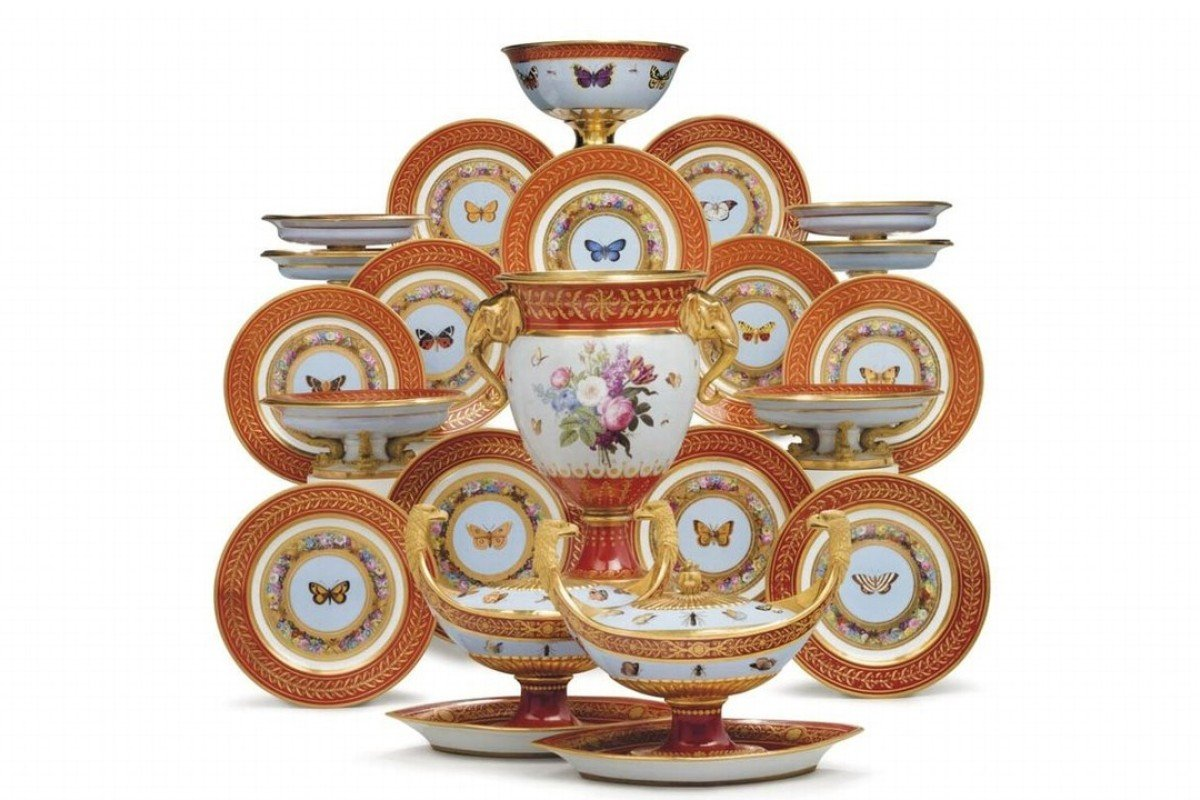 The Rockefeller porcelain dessert set, once owned by Napoleon Bonaparte, has sold for US$1.8 million at a Christie's auction. Photo: Bloomberg
