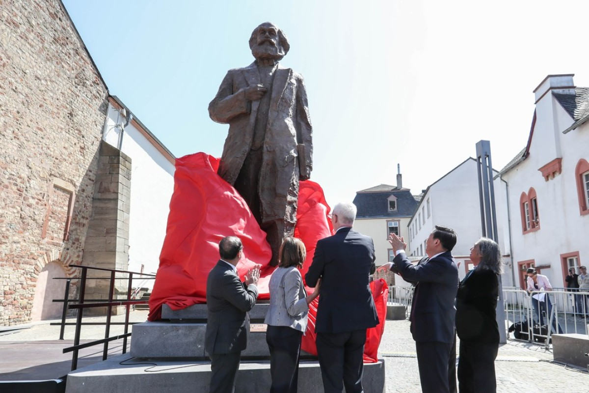 The unveiling of the Karl Marx statue in Trier, Germany, a gift from China on the bicentenary of the philosopher's birth. Picture: Xinhua