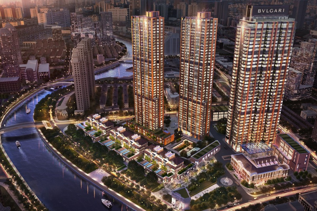 The Bulgari Hotel & Residences Shanghai, located within a 48-storey tower which stands next to the restored Chamber of Commerce Shanghai building, beside the Huangpu River.