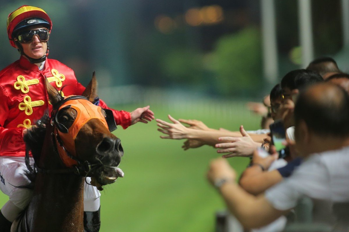 Zac Purton celebrates Starlit Knight's victory with the Happy Valley fans. Photos: Kenneth Chan