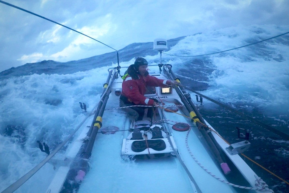 Grant Rawlinson faces huge waves and high winds as he rows across the Tasman. Photos: Alistair Harding
