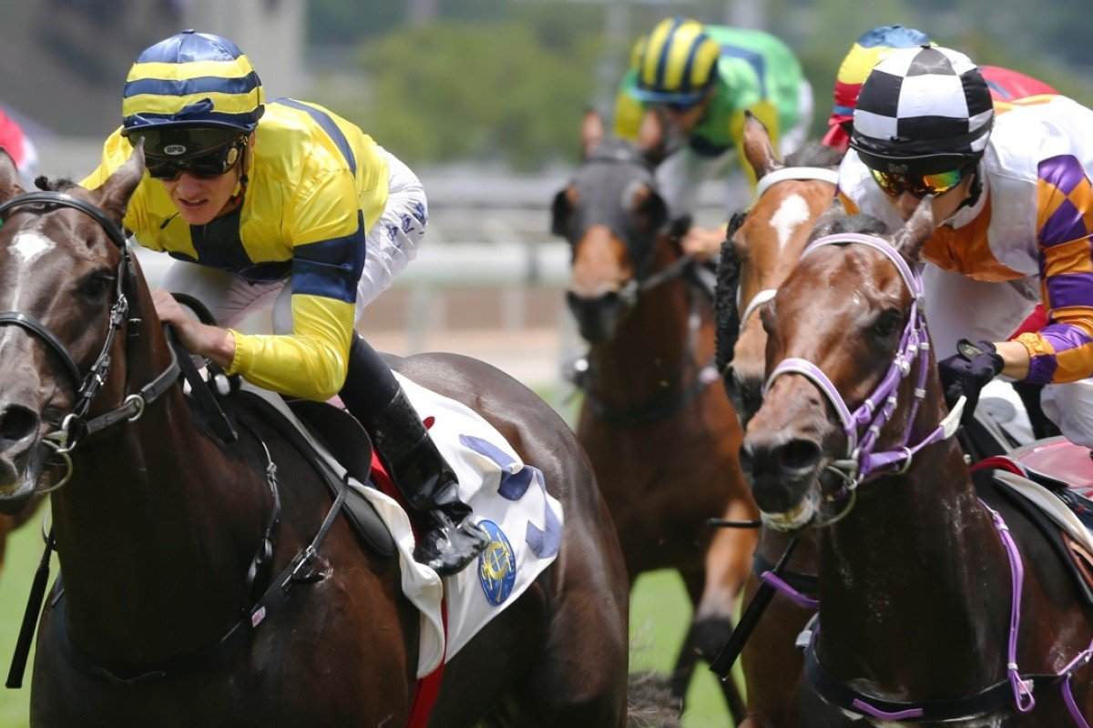Chad Schofield guides Shimmer And Shine (left) to victory at Sha Tin. Photos: Kenneth Chan