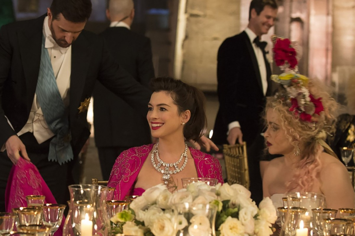 Anne Hathaway stars as Daphne Kluger and Helena Bonham Carter as Rose in 'Ocean's 8'. Hathaway is wearing the legendary diamond necklace.