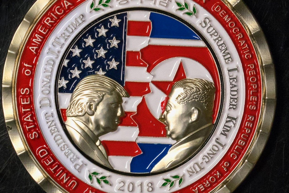 A coin celebrates the upcoming US-North Korea summit. Photo: AFP