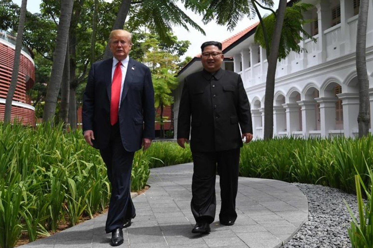 Donald Trump and Kim Jong-un at the Capella Singapore on Sentosa Island. Picture: AFP