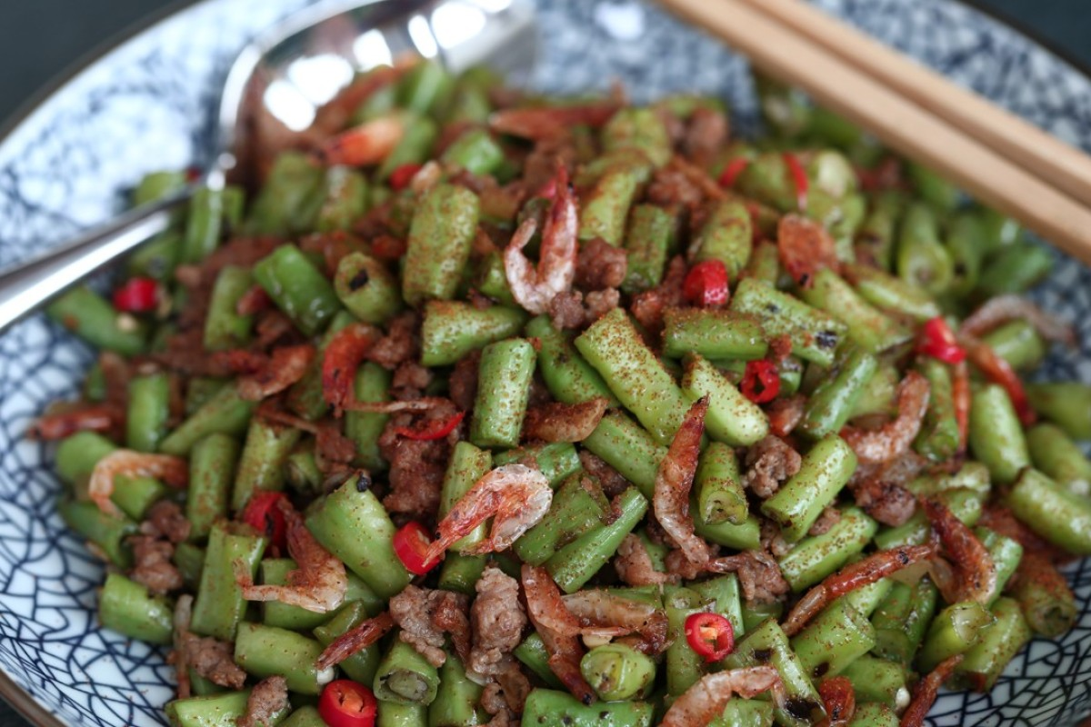 Stir-fried long beans with minced pork, sakura shrimp and cha choi. Photography: Jonathan Wong. Styling: Nellie Ming Lee