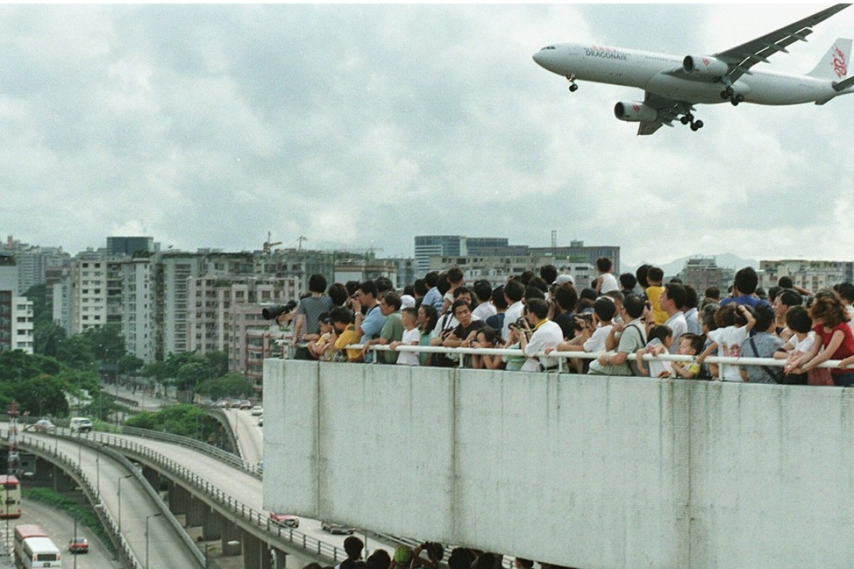 People throng the terrace of a car park near Kai Tak in June 1998. Picture: SCMP