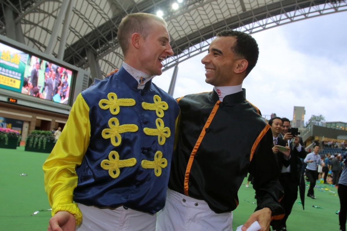 Jockeys Zac Purton and Joao Moreira. Photos: Kenneth Chan