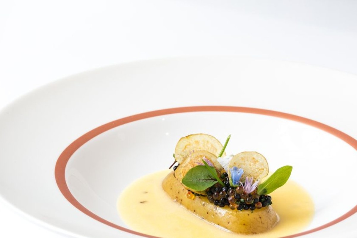 Potato and roe, the famous dish created by Clare Smyth for her restaurant. Core by Clare Smyth won a perfect score in its first year in 'The Good Food Guide 2019'. Photo: Lotus International