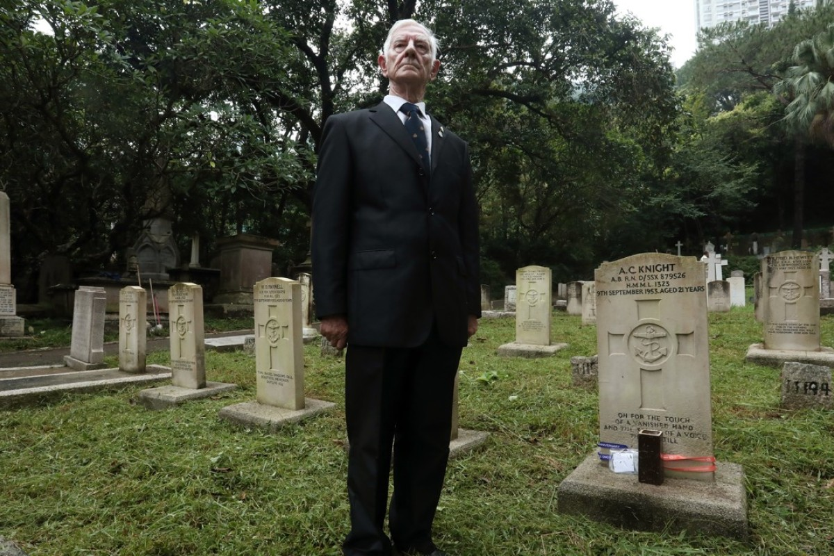 Royal Navy veteran John Fleming visits the graves of the victims of the Pearl River Incident, at the colonial cemetery in Happy Valley. Picture: Jonathan Wong
