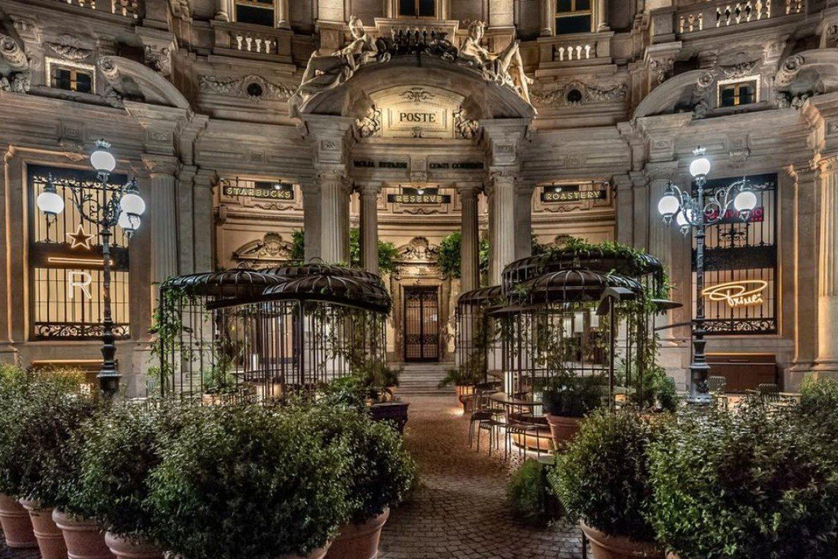 The world's first Starbucks Reserve Roastery is located in the historic Poste building in Piazza Cordusio, Milan.