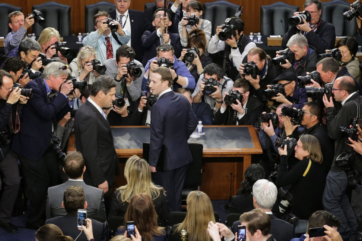 Facebook CEO Mark Zuckerberg testifies at a Senate committee hearing in the wake of the Cambridge Analytica scandal. Photo: AFP