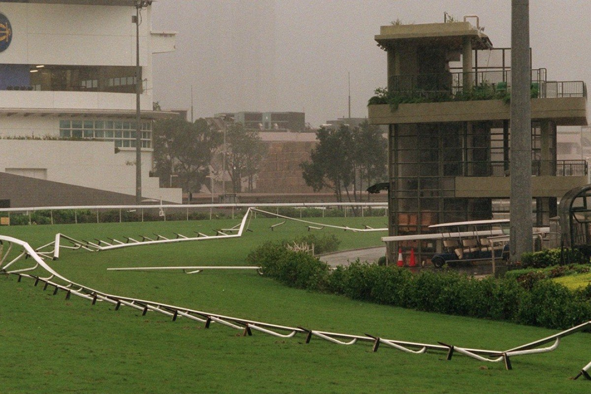 A typhoon knocks over the rail at Sha Tin. Photo: Dickson Lee