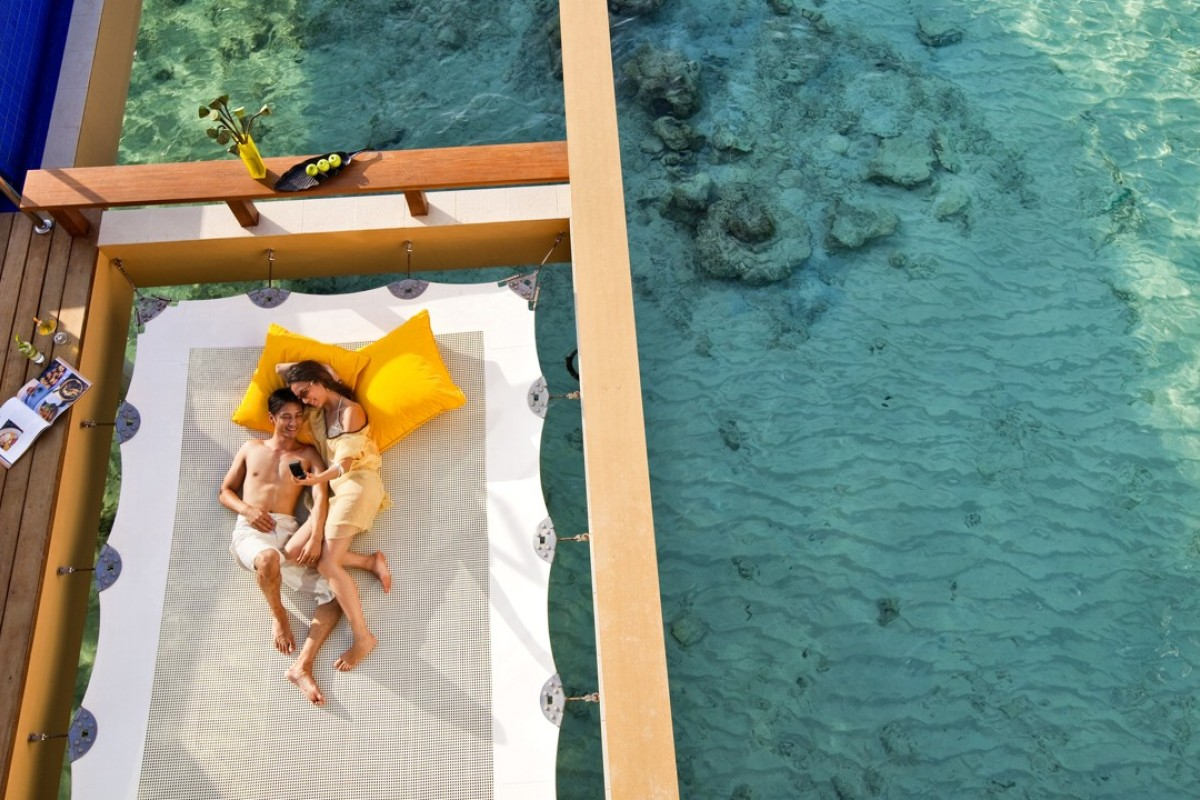 At Angsana Velavaru resort you can forget about the rest of the world on a waterborne hammock.