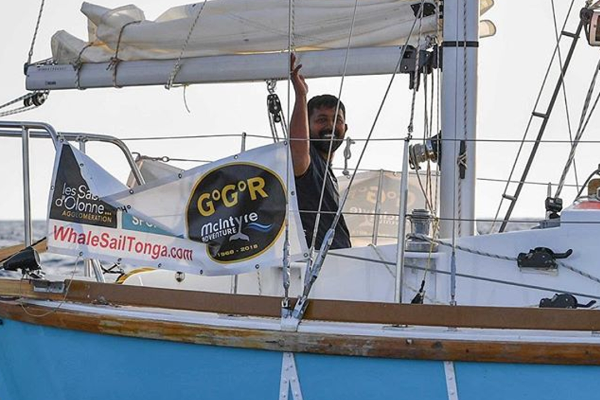Abhilash Tomy waves as he leaves for the round-the-world non-stop race. But now is injured and unable even to move to his communication devises. Photo: Golden Globe Race/Instagram