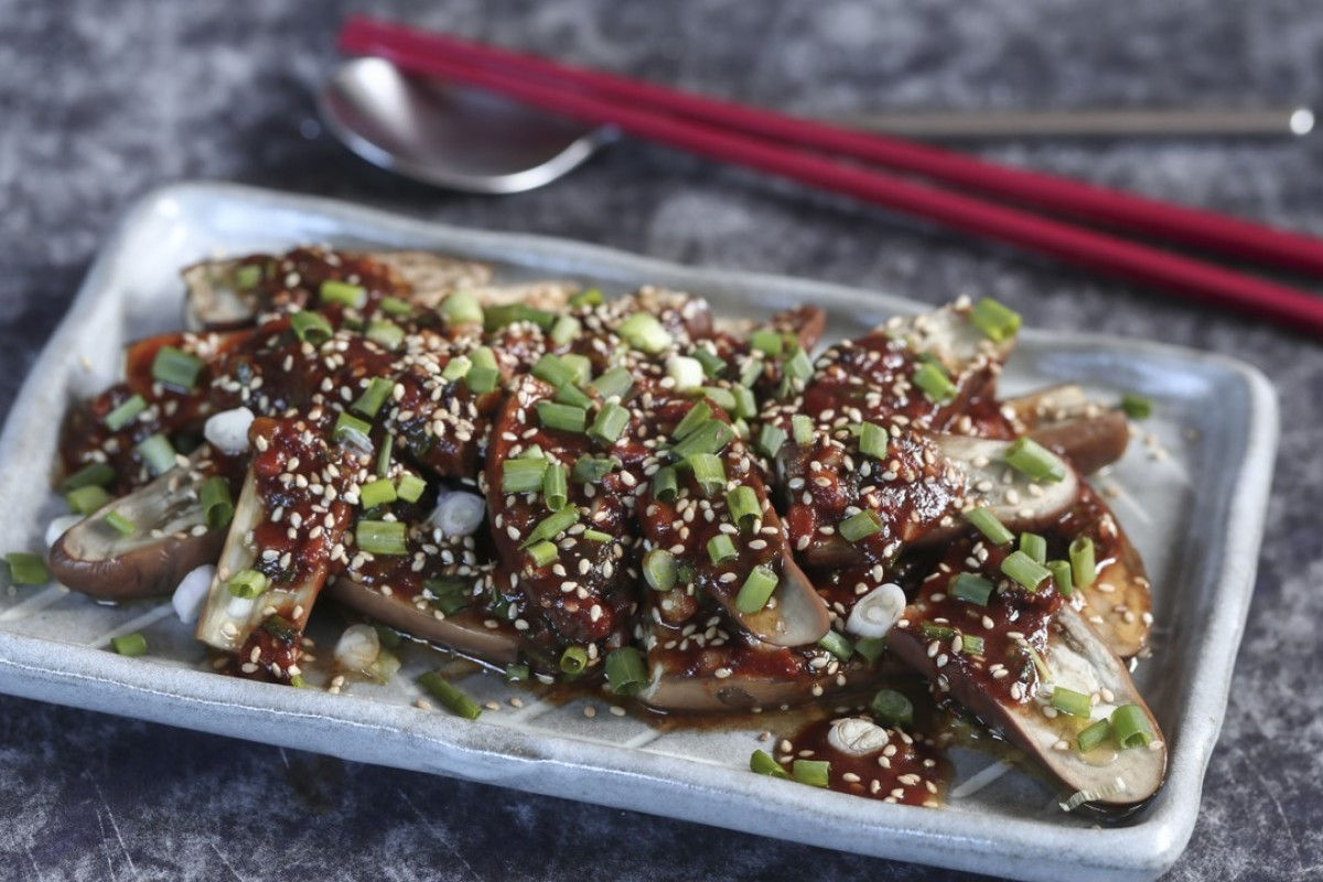 Susan Jung's steamed eggplant with spicy sesame sauce. Photography: Jonathan Wong. Styling: Nellie Ming Lee
