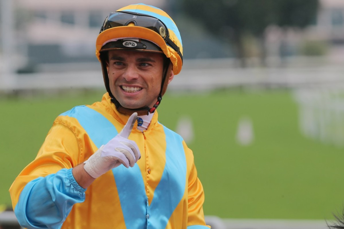 Umberto Rispoli celebrates his win on Full Of Chances. Photos: Kenneth Chan