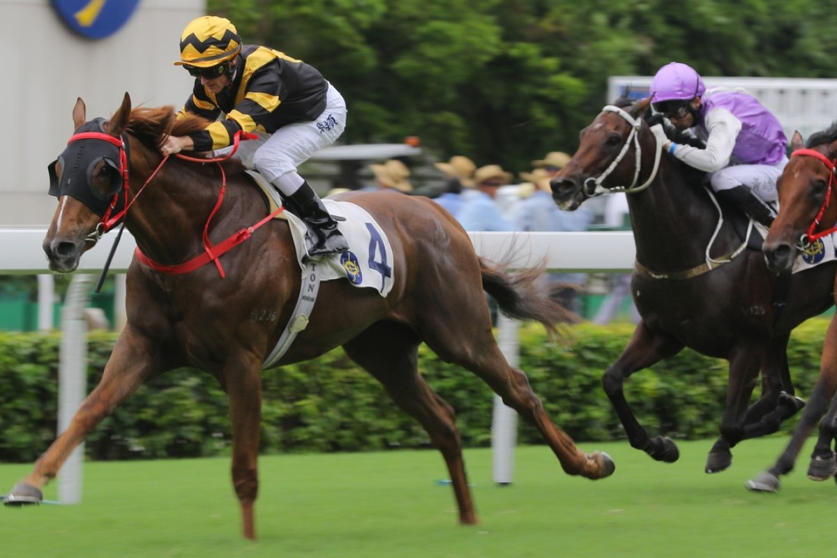 Glorious Forever races away to smash the Sha Tin track record with Zac Purton riding last season. Photos: Kenneth Chan