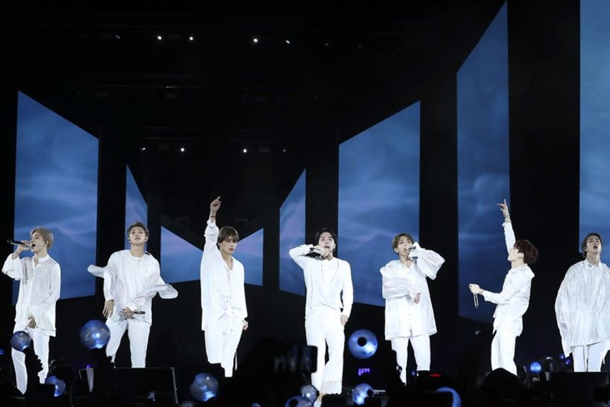 BTS members perform at Citi Field in New York on Saturday. Photo: Yonhap