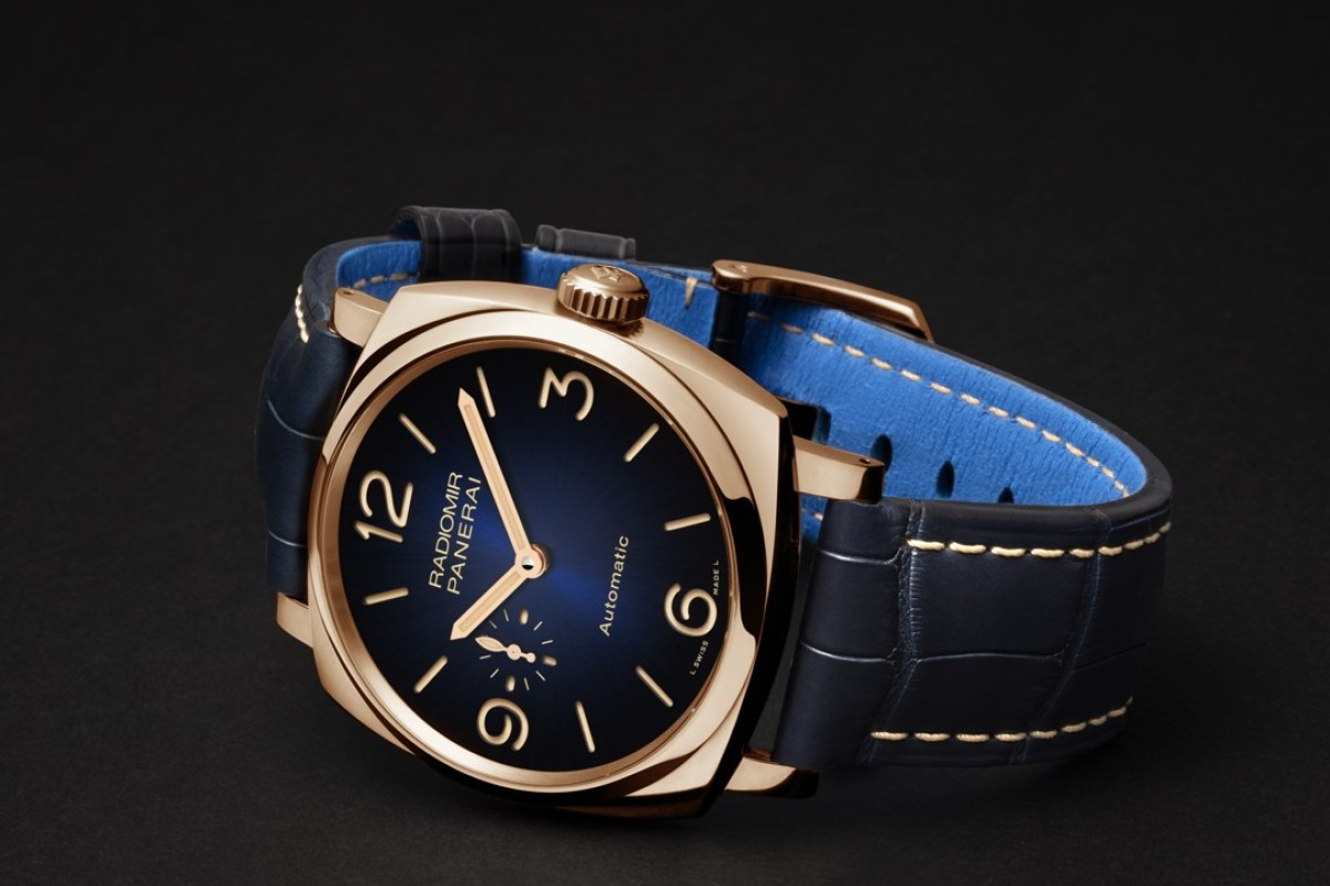 Panerai. The Mediterraneo edition highlights a dial in navy blue with gradients. Featuring luxurious materials such as the special red gold 5NPT and a see-through sapphire crystal case back, the watch is limited to 188 pieces, HK$171,500.
