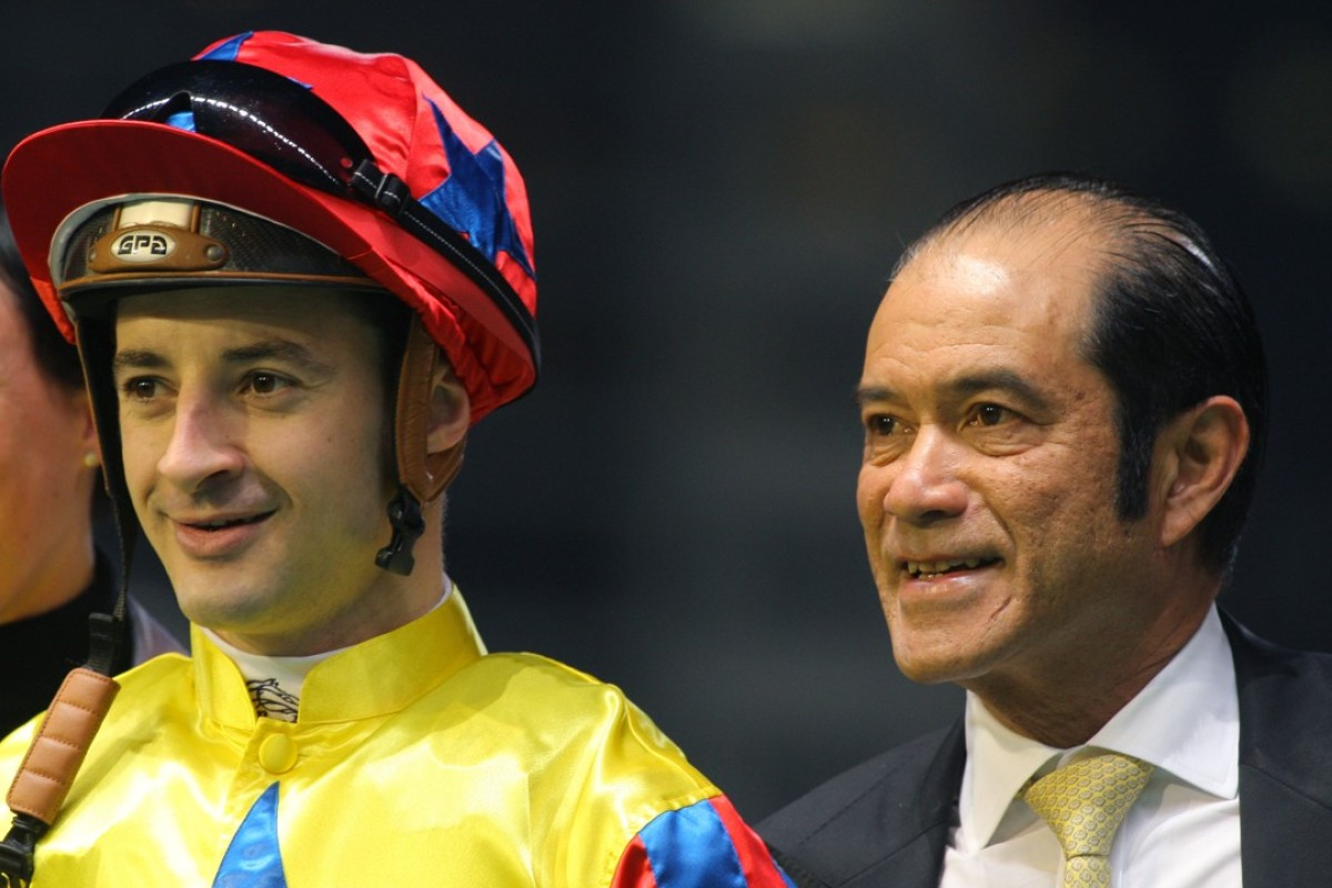 Jockey Christophe Lemaire, pictured with Derek Cruz in Hong Kong, rides Almond Eye on Sunday. Photos: Kenneth Chan