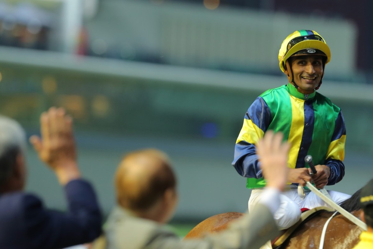 Karis Teetan after winning on Blitzing at Happy Valley earlier in the season. Photos: Kenneth Chan