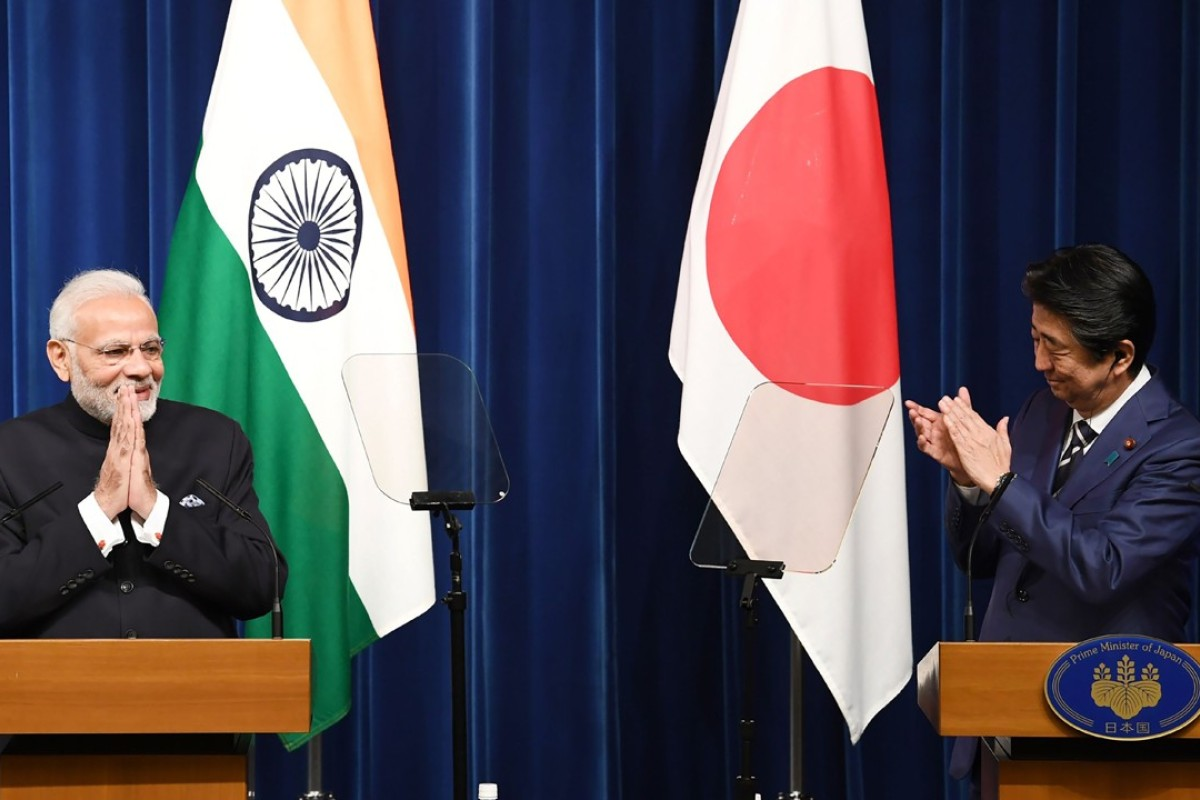 Indian Prime Minister Narendra Modi with his Japanese counterpart Shinzo Abe in Tokyo. Photo: AFP