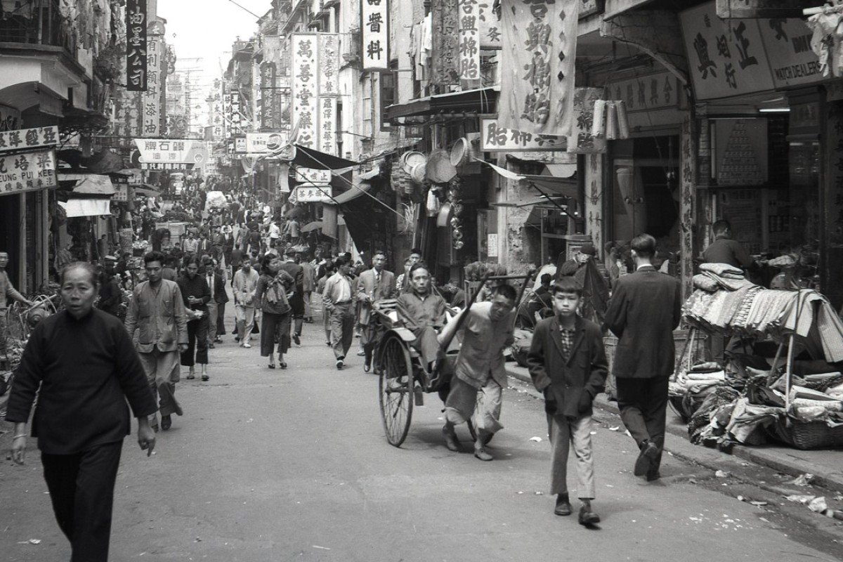 An historical photo shows a busy street in Hong Kong. Picture: Alamy