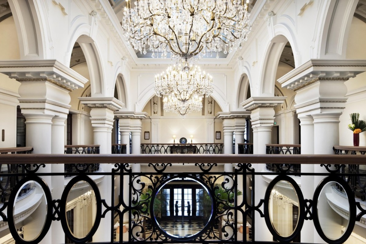 The lobby of the Hilton-operated Waldorf Astoria Shanghai on the Bund, one of the high-end hotels featured in secretly filmed footage showing the horrifying habits of cleaning staff.