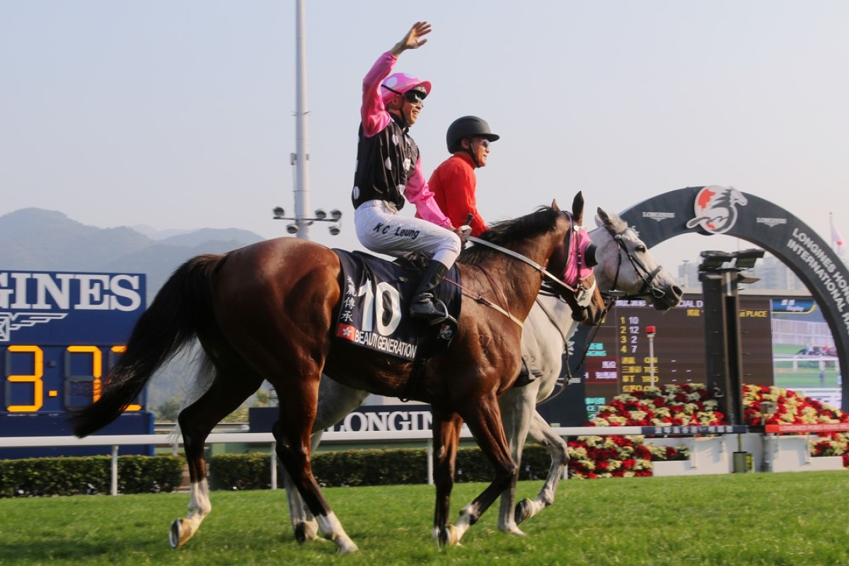 Derek Leung celebrates after winning the 2017 Hong Kong Mile with Beauty Generation. Photos: Kenneth Chan