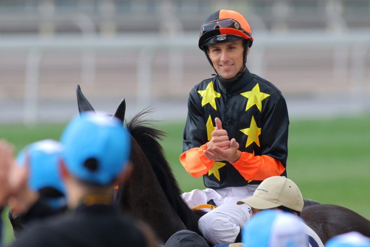 Tye Angland after his last winner in Hong Kong, Happy Cooperation in March 2016. Photos: Kenneth Chan