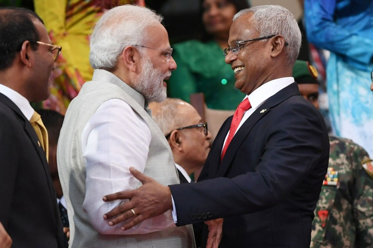 Indian Prime Minister Narendra Modi with new Maldives President Ibrahim Mohamed Solih in Male. Photo: AFP