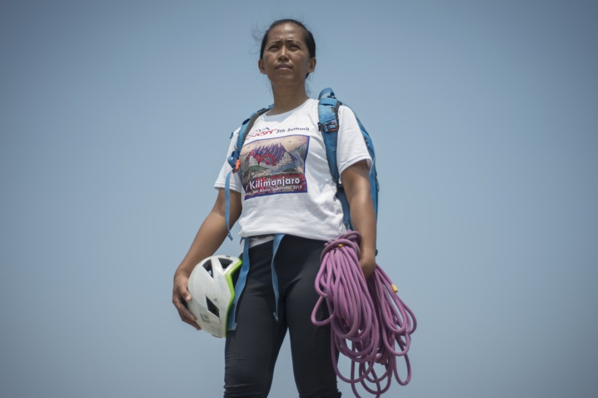 Mountaineer Carina Dayondon, in Manila Bay. Picture: Antony Dickson