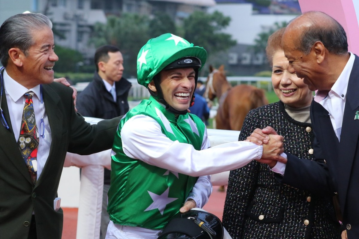 Jockey Silvestre de Sousa shares a laugh with trainer Tony Cruz and owner Kerm Din after Pakistan Friend's win at Sha Tin. Photos: Kenneth Chan