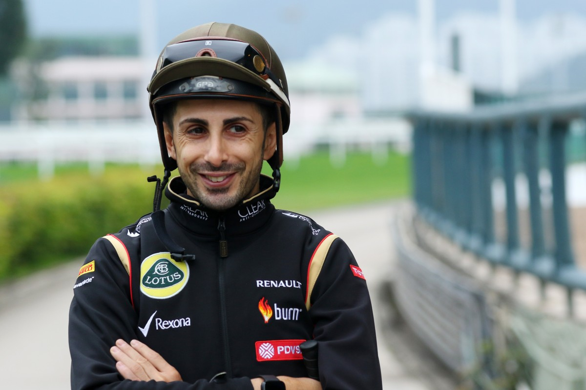 Jockey Alberto Sanna is all smiles at Sha Tin trackwork after returning from his shattered hip. Photos: Kenneth Chan