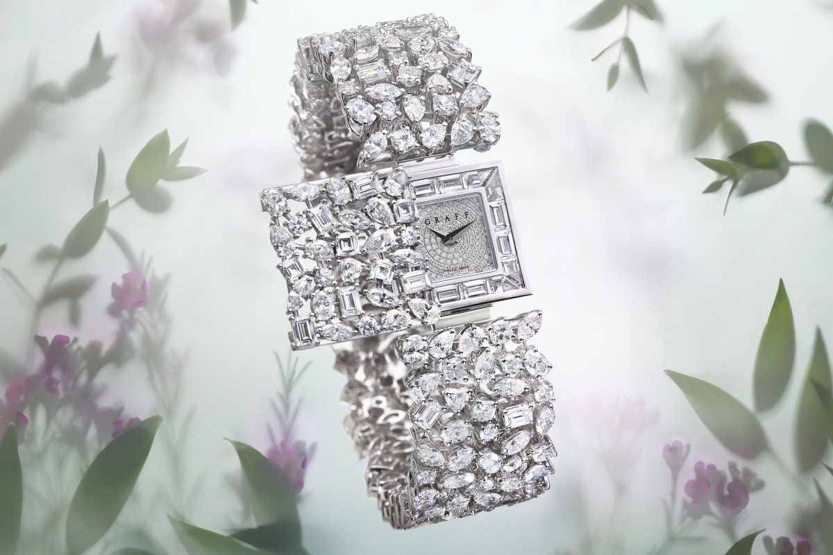 Graff's secret watch, with the dial concealed behind a diamond-encrusted panel, doubles as a diamond bracelet and is one of the luxury jewellery designs that are perfect for a bride to wear on her wedding day.